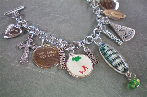 Handmade Recycled Jewelry - rome italy charm bracelet recycled jewelry handmade