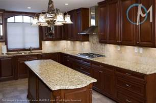 Granite Kitchen Cabinets Cabinets With New Venetian Gold Granite And Tumbled