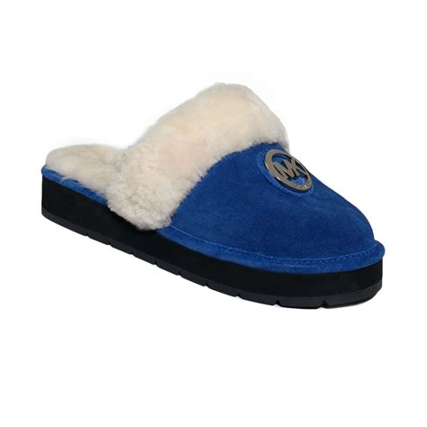 michael kors slippers lyst michael kors winter fur slippers in blue