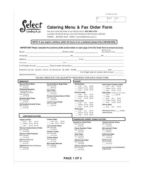 menu order form template sle catering order form 11 exles in word pdf