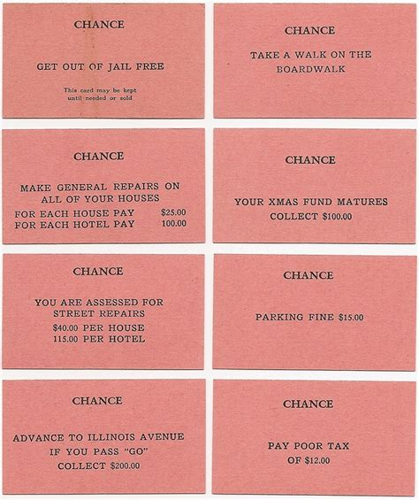 Chance Cards Monopoly Template by A 1935 Monopoly Single Patent 1 509 312