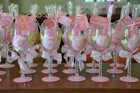 Wine Glass Wedding Giveaways - wedding wine glass bridal party pretty in pink theme hand painted favor shower gift