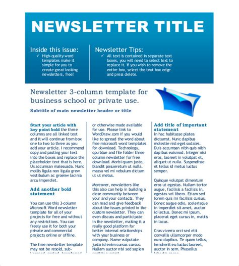 create a newsletter template free newsletter template 9 free word pdf documents