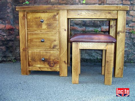 Handmade Pine Furniture - plank single pedestal dressing table handcrafted by incite