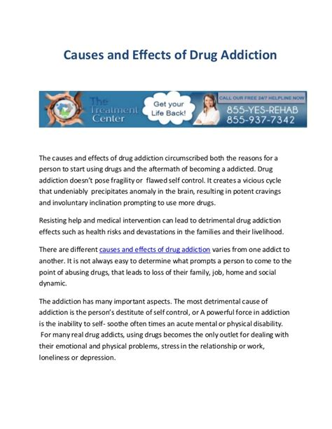 After Effects Of Detox From by Causes And Effects Of Addiction