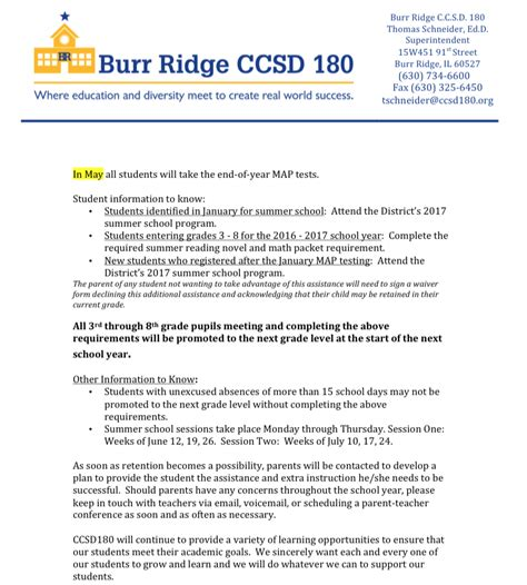 Grade Promotion Letter community consolidated school district 180 board of
