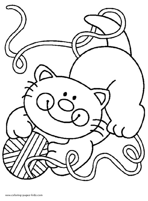 cat playing  wool color page  printable coloring