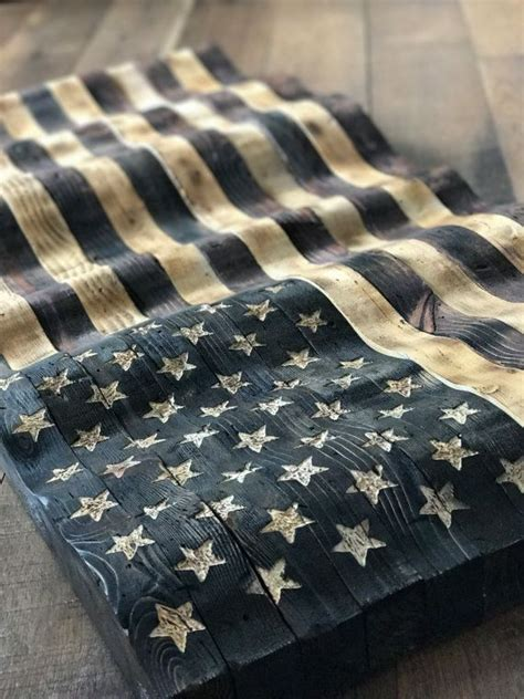 wavy handcrafted american flag distressed  stained