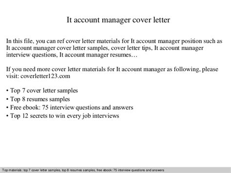 Introduction Letter As New Account Manager It Account Manager Cover Letter