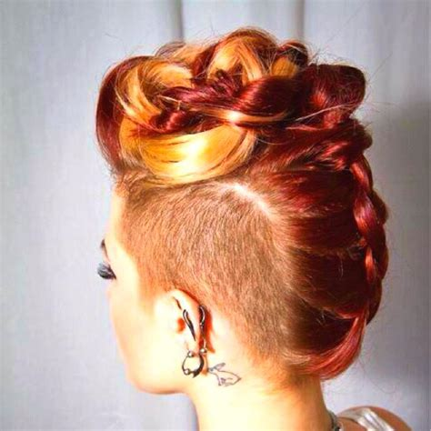 shaved side prom hairstyles long hair updo with undercut shaved sides orange and red