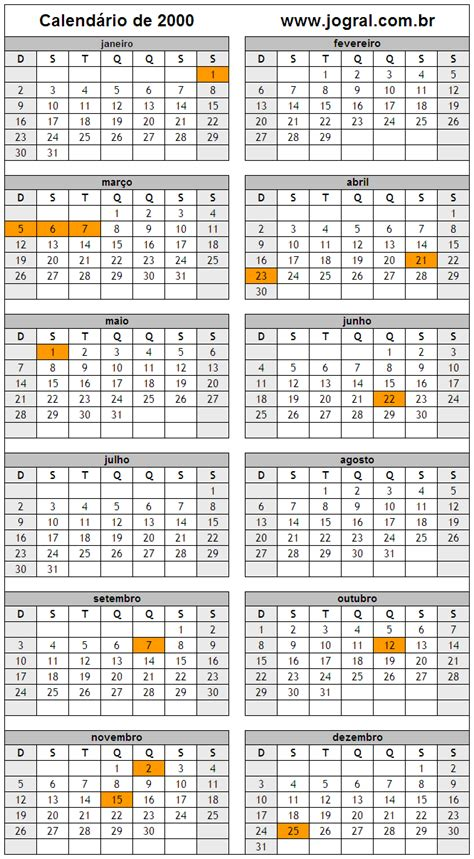 Calendario Ano 2000 Calend 225 Ano 2000 Para Imprimir Em Formato Pdf E Imagem