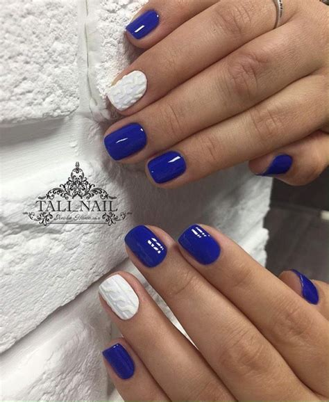 Blue And White Nail