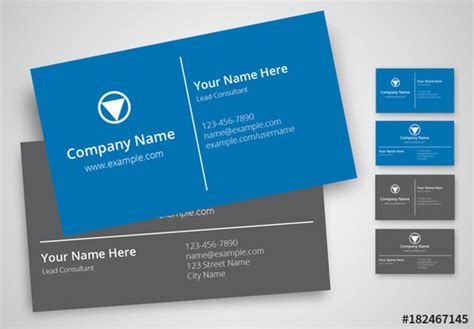 business card template adobe stock blue and gray business card layout set buy this stock
