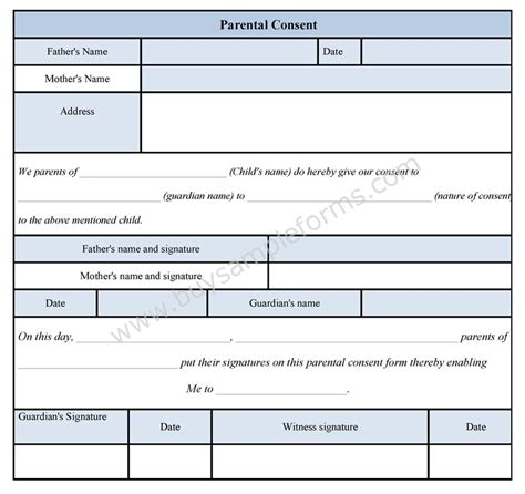parental consent form sle parental consent form