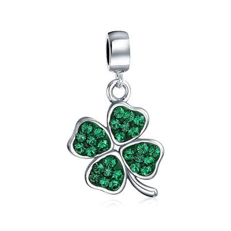 charms and for jewelry green shamrock 4 leaf clover dangle bead fits pandora