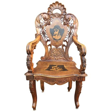 forest armchair 19th century black forest ceremonial armchair in walnut