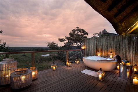 Getaways In luxury outdoor showers and bath tubs on safari exclusive getaways