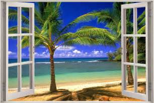 Beach Wall Mural Huge 3d Window View Exotic Beach Wall Sticker Film Mural