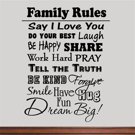 inspirational quotes decor for the home family rules vinyl wall decal inspirational quote home