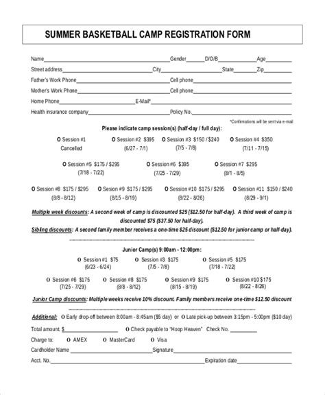 Pin Basketball Registration Form On Pinterest Summer C Registration Form Template