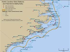 map carolina coast nc wind stations and nearshore bathymetry carolina