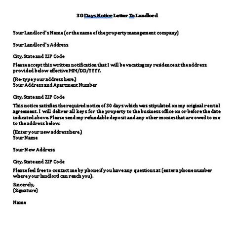 sample days notice letter landlord template mous syusa