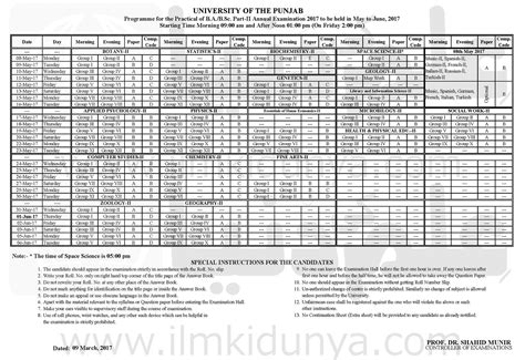 Bsc Finder Punjab Date Sheets 2018 Of Ba Bsc B Ma Msc