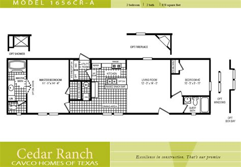 single wide mobile home floor plans and pictures cavco homes floor plan 1656cr a 2 bedroom 1 bath single