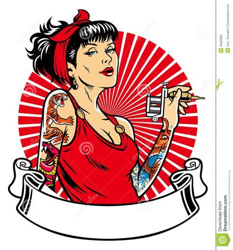 Tattoo Girl Vector | tattoo girl stock vector illustration of urban woman