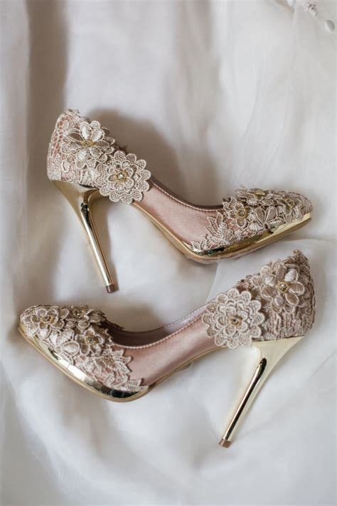 chagne colored wedding shoes sale vintage flower lace wedding shoes with chagne gold