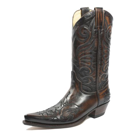 Handmade Leather Cowboy Boots - sendra 6056 cowboy boots brown leather western biker