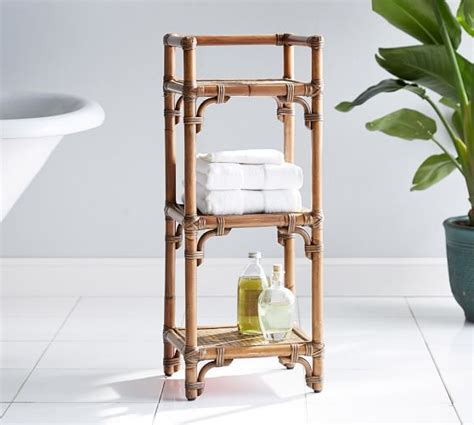 Rattan Floor Storage Pottery Barn Rattan Bathroom Storage