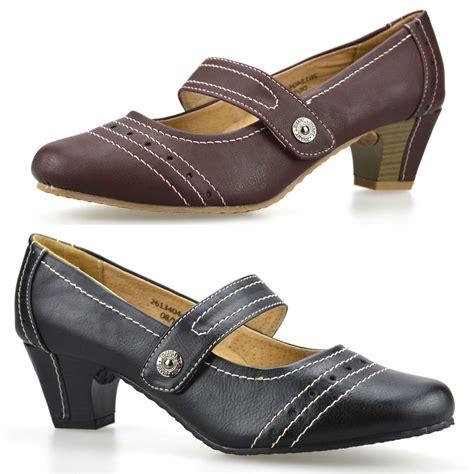 comfortable mary jane heels ladies womens mid low heel leather comfort work pumps mary