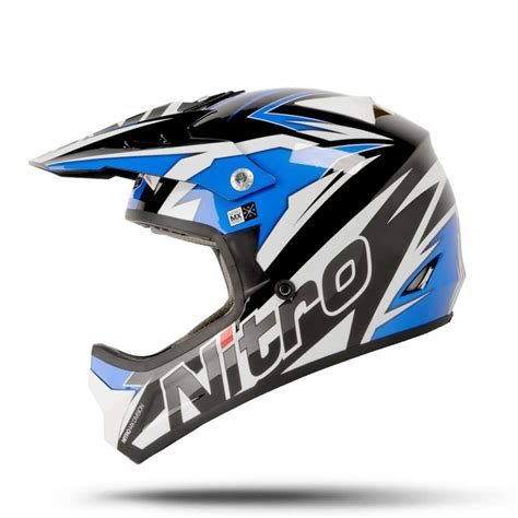 black motocross helmet nitro shard black blue white motocross helmet mx bike