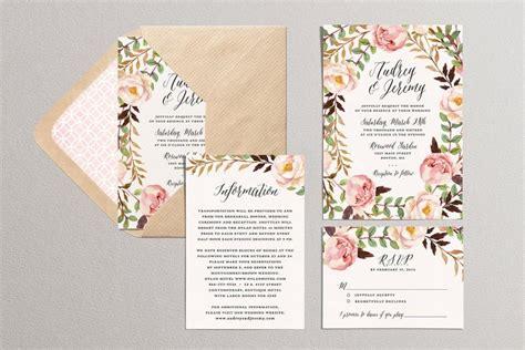 Summer Theme Wedding Invitations by Printable Wedding Invitation Set Floral Wedding Suite