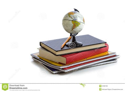 on the book stock photos school books and a globe royalty free stock images image 6490199