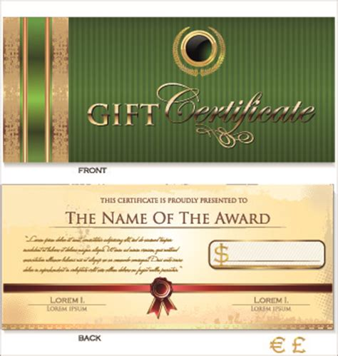 gift certificate template free vector download 15 517
