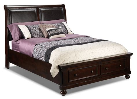 beds beds beds chester queen storage bed cherry leon s