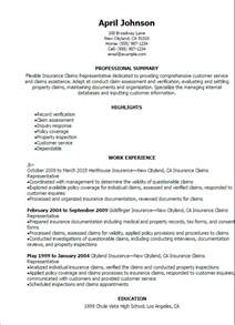 insurance summary template professional insurance claims representative resume