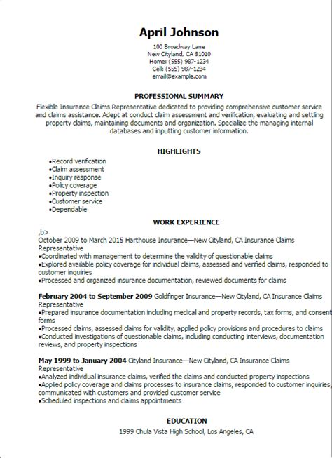 Professional Insurance Claims Representative Resume
