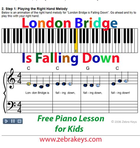 piano keyboard tutorial video learn how to play london bridge is falling down free