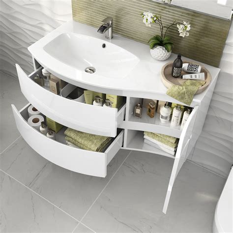 Curved Bathroom Furniture Modern White Vanity Unit Curved Bathroom Furniture Sink Basin Wall Hung Left Ebay