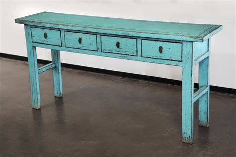 Turquoise Console Table Turquoise Console Entry Hallway Sofa Table With Drawers Custom Furniture Gallery