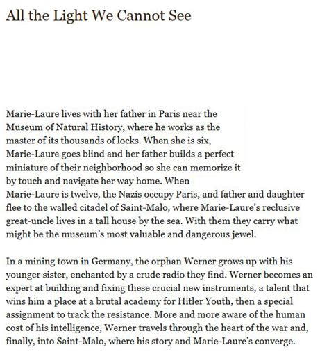 All The Light We Cannot See Epub by All The Light We Cannot See Anthony Doerr Epub
