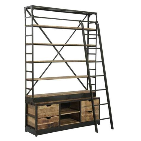 Industrial Bookcase With Ladder Architecture Industrial Bookcase With Ladder