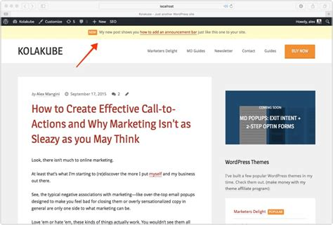 Website Top Bar Add Announcement Box To Top Of Site Marketers Delight