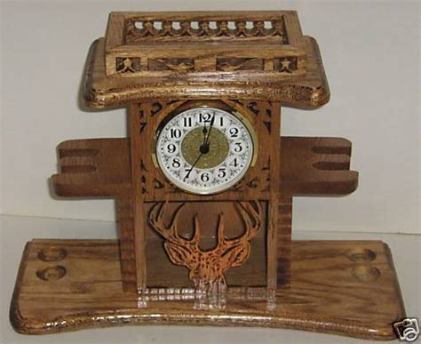 Clock L Stand handmade wooden woodworking deer pipe stand clock gift ebay