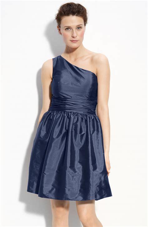 eliza j drape sleeve sash belt dress eliza j one shoulder taffeta dress in blue navy lyst