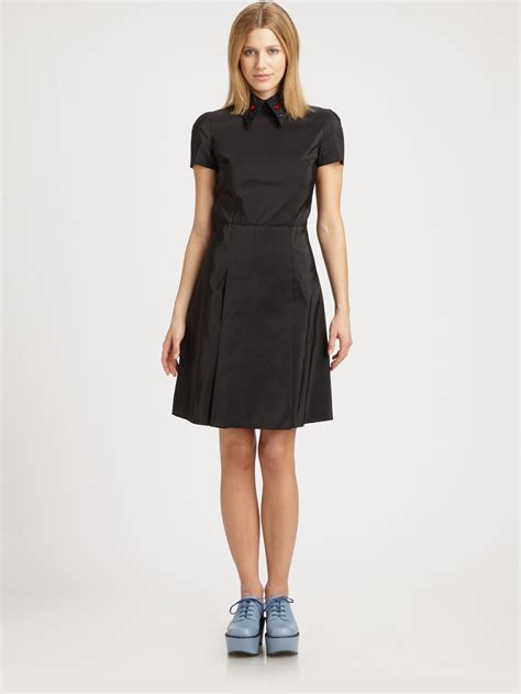 embroidered collared dress jil sander navy embroidered collar dress in black lyst