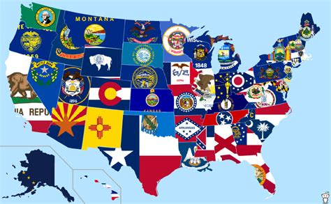 usa map states flags flags of the us states land of maps